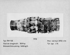 Flygmotor RM 5B (Rolls-Royce Avon Mk 23 (S)), tillverkad 1956, för flygplan J 34. Monterat foto med tillhörande information. - PICRYL Public Domain Image