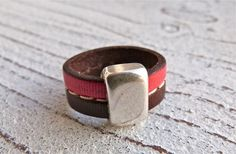 Leather Ring with Zamak #64, Ladies Ring,Ring brown red,Leatherring,Handmade Jewelry,Boho Chic, Women, Ring, Zamak Leather,Statement Jewelry