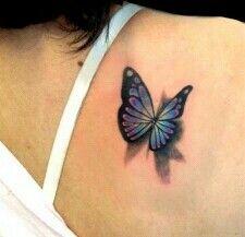 Rainbow 3d butterfly tattoo