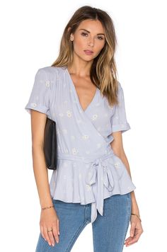 L'Academie The Retro Wrap Blouse in Daisy - multiple colors $128