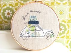 """Embroidery Hoop Art - 'Off to see the world' Textile illustration of a French 2CV car in blue & green - 8"""" hoop"""