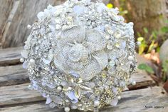 Glass rose brooch bridal bouquet -- deposit on a made-to-order bridal bouquet