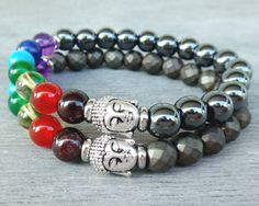 Buddha bracelet 7 chakra bracelet Chakra balancing bracelet Yoga meditation bracelet Hematite bracelet Wrist mala beads Rainbow chakra beads