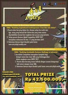 #Lomba #Business #Challenge #ENTRY #EntrepreneurialDay #SBIPB #Bogor ENTRY ENTREPRENEURIAL DAY 2017 Business Challenge dan Journalistic Competition Berhadiah Total 42,5 Juta Rupiah  DEADLINE: 16 September 2017  http://infosayembara.com/info-lomba.php?judul=entry-entrepreneurial-day-2017-business-challenge-dan-journalistic-competition-berhadiah-total-425-juta-rupiah