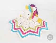 Sweet Unicorn Lovey Pattern Security Blanket Crochet Lovey