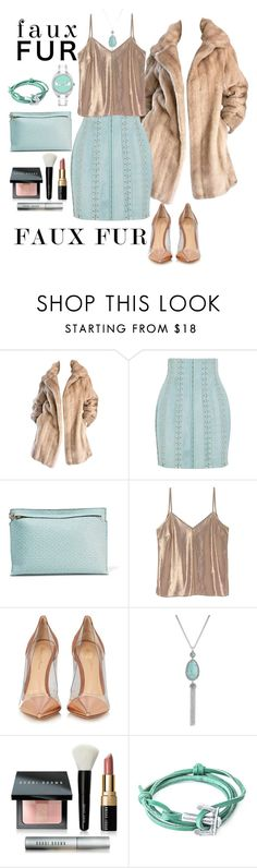 """""""Faux Fur Holiday"""" by loves-elephants ❤ liked on Polyvore featuring Lilli Ann, Balmain, Loewe, A Day in a Life, Gianvito Rossi, Lucky Brand, Bobbi Brown Cosmetics, Anchor & Crew and Fendi"""