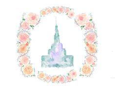 Draper, Utah LDS Temple watercolor