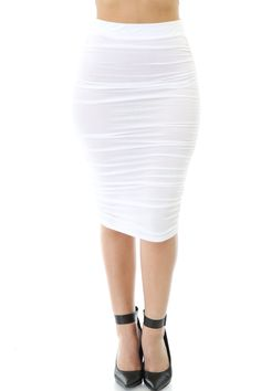 Ruched Pencil Skirt. 95% Rayon 5% Spandex
