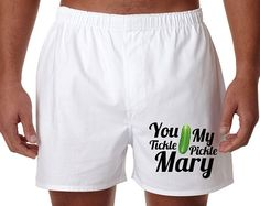 Custom 'You Tickle My Pickle' Men's Boxer Short Valentines Day Anniversary Wedding Clever Funny Underwear Gift Idea on Etsy, $9.99
