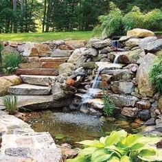 backyard landscape design - Backyard Pond / Waterfall Landscape Design