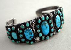 Cuff | Designer ? (Zuni).  Silver and turquoise.  ca. 1920s/30s.