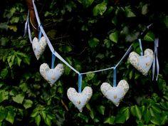 Blue Floral Fabric Heart Garland