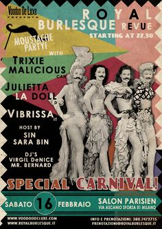 Art work by Voodoo De Luxe © Vintage Web Design, Burlesque Show, 30th Party, Voodoo, Pin Up, Dj, Carnival, Flyers, Art Work