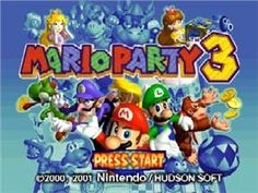 Title screen of Mario Party 3 on the Nintendo N64.