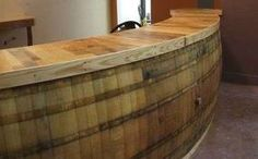 curved bar curved circle round wooden wine barrels bar