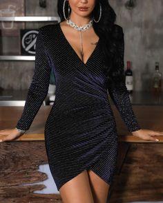 ivrose / V-Neck Surplice Wrap Glitter Bodycon Dress Black Women Fashion, Look Fashion, Womens Fashion, Fashion Fall, Modest Fashion, Fashion Dresses, Fashion Clothes, Fall Dresses, Prom Dresses