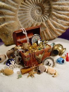 Pirate Chest for our Faerie Pirate Cove Haunted Dollhouse, Dollhouse Toys, Dollhouse Miniatures, Miniature Crafts, Miniature Gardens, Fairy Gardens, Steampunk Dolls, Mermaid Shell, Fairy Garden Supplies