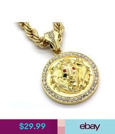 """Chains, Necklaces & Pendants Mens 14K Gold Plated 30"""" Rope Chain Lion Face Red Eyes Pendant Necklace #ebay #Fashion"""
