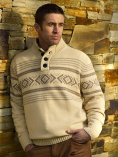 $120 Kiki- our lovely men's casual knit sweater with four large buttons on the collar and inca print detail Large Buttons, Knitwear, Trousers, Men Sweater, Men Casual, Detail, Knitting, Sweaters, Jackets