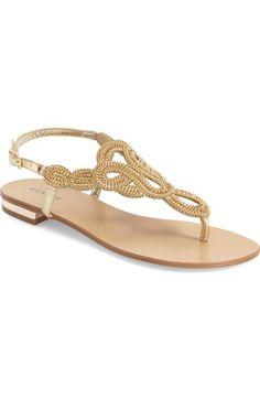 2c2801a692c98 Menbur  Gazania  Embellished Flat Sandal (Women) available at  Nordstrom  Gold Flat