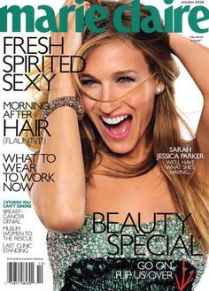 Sarah Jessica Parker on the cover of Marie Claire Vogue Magazine Covers, Fashion Magazine Cover, Fashion Cover, Top Fashion Magazines, Vintage Magazines, Marie Clare, Sarah Jessica Parker Lovely, Carrie Bradshaw, Love Her Style