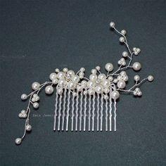 White Pearl Wedding Hair Accessories, Swarovski Pearl Silver Bridal Hair Vine Combs, Bride Bridesmaid Hair Piece jewelry Accessories H20