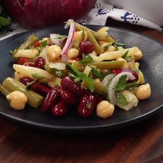 Bean salad is a great summer side dish or potluck favorite, a colorful mix of canned beans and tossed with a zesty dressing! Bean Salad Recipes, Salad Dressing Recipes, Vegetable Recipes, Diet Recipes, Vegetarian Recipes, Cooking Recipes, Healthy Recipes, Marinated Vegetable Salads, Four Bean Salad