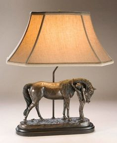 Another gorgeous equestrian lamp. Young girl and her pony. Heavy resin by artist Nancy Belden.