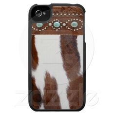 Cowhide & Turquoise Western iPhone 4 Case.