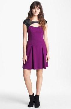 So cute! Betsey Johnson Purple Faux Leather Fit & Flare Dress