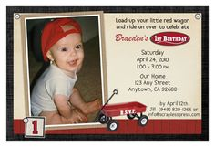 radio flyer little red wagon birthday party invitations with photo