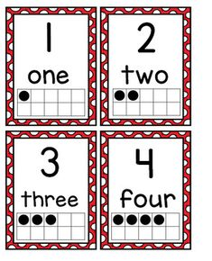 Number Posters with Ten Frames and Flash Cards---Bright Red Polka Dots Number Posters, Number Words, Page Number, Ten Frames, Classroom Decor, Maths, Numbers, Homeschool, Polka Dots