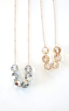 Swarovski Crystal Beads necklace - petite rose gold filled chain with Swarovski beads, pink gold, dainty, simple, jewelry, simple everyday, www.colormemissy.com, by ColorMeMissy