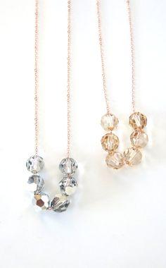 Swarovski Crystal Beads necklace petite rose gold