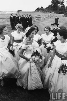 Jacqueline Bouvier on her wedding day to JFK