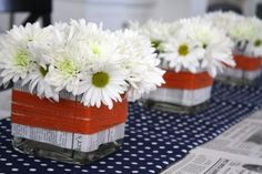 use newsprint to wrap vases and as part of table runner - cute and budget friendly #party idea at thepleatedpoppy.com