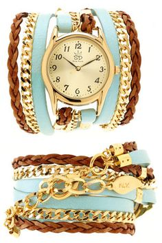 SARA DESIGNS Leather and Chain Wrap Watch, with gold and soft blue tons. So pretty ! <3
