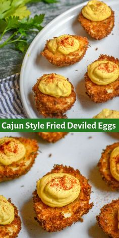 A crisp Panko breading that's been tossed with gumbo file, salt, and pepper, coat every one of these crispy deviled eggs. Piped with a smooth Cajun spiced filling, they're then sprinkled with smooth smoked paprika for the full effect. Cajun Recipes, Egg Recipes, Cooking Recipes, Dinner Recipes, Cajun Food, Fast Recipes, Finger Food Recipes, Keto Finger Foods, Louisiana Recipes