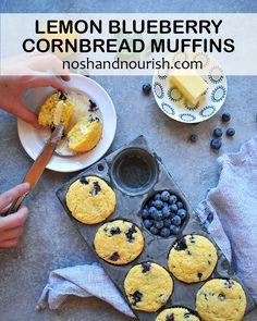Gluten Free Lemon Blueberry Cornbread Muffins via Blueberry Cornbread, Gluten Free Blueberry Muffins, Cornbread Muffins, Blueberry Recipes Savory, Healthy Muffins, Easy Delicious Recipes, Whole Food Recipes, Yummy Food, Amazing Recipes