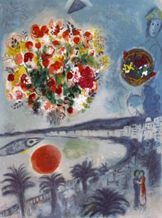 """Sunset by Marc Chagall, from the 'Nice and the Cote d'Azur' Suite, 1967. Lithograph, 28 x 21"""" (71 x 53 cm)"""