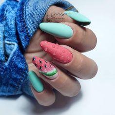 Chic Nails, Stylish Nails, Trendy Nails, Bling Nails, Swag Nails, Nail Manicure, Gel Nails, Fruit Nail Art, Nail Drawing
