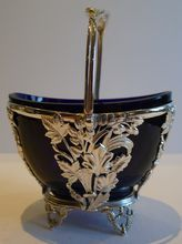 Pretty Antique English Silver Plated Sugar Basket - Bristol Blue Glass Lined c.1880