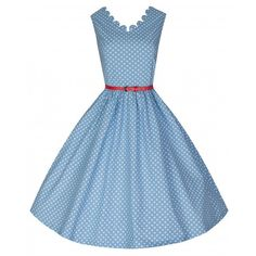 'Daria' Pretty In Polka Pastel Blue Swing Dress ($46) ❤ liked on Polyvore featuring dresses, blue, trapeze dress, blue print dress, polka dot swing dress, skater skirt and scalloped dress