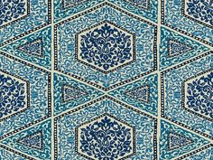 Sudhira Blue embroidered cotton blend fabric by Brunschwig & Fils.