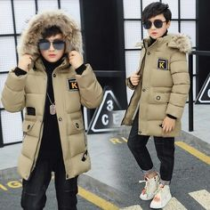 Compra Children's Boys Fur Long Coat Boys Winter Clothing Hooded Jacket Thick Cotton Thickening Degrees en Wish- Comprar es divertido Boy Outfits, Winter Outfits, Jogger Sweatpants, Winter Kids, Kids Boys, Boys Teenage, Canada Goose Jackets, Parka, Hooded Jacket