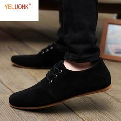 a462b2534 Los hombres visten zapatos de gamuza Oxfords zapatos para hombres zapatos  Formal Lace Up negro azul