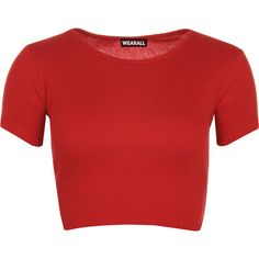 Julissa Short Sleeve Ribbed Crop Top ($9.30) ❤ liked on Polyvore featuring tops, crop tops, shirts, red, shirt crop top, scoop neck top, red short sleeve top, scoop neck shirt and short sleeve tops