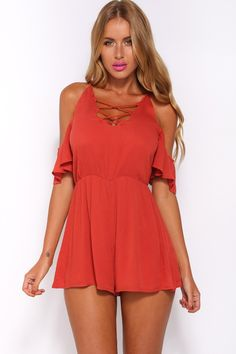 HelloMolly | The Way We Fit Playsuit Rust - New In