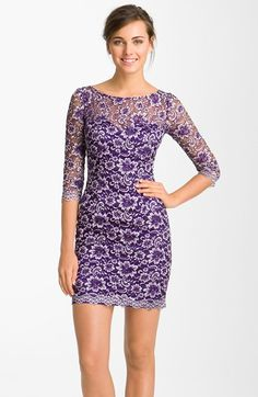 Free shipping and returns on Dalia MacPhee Sheer Sleeve Lace Sheath Dress at Nordstrom.com. Entrancing floral lace blossoms into the sheer, boatneck overlay of a sinuous sheath dress finished with fancifully scalloped elbow-sleeves and hemline.