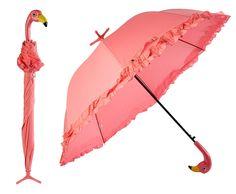 Fallen Fruits Pink Flamingo Umbrella with Ruffles Automatic Open & Freestanding (90cm Diameter): Amazon.co.uk: Kitchen & Home